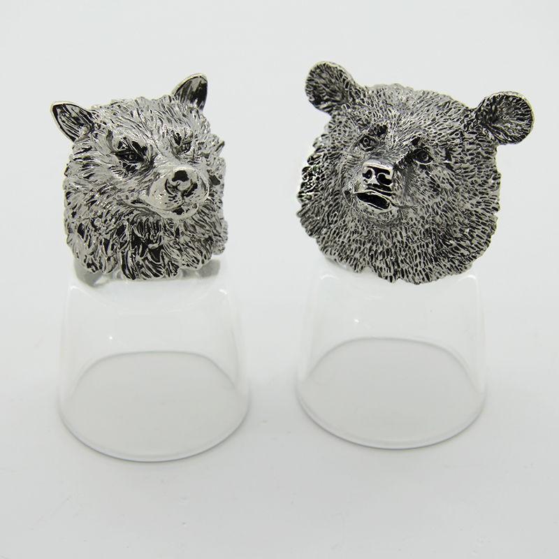 Набор рюмок-перевертышей с литыми головами Волк и медведь