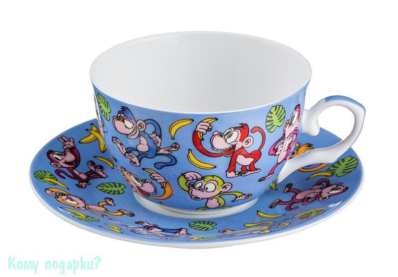 Чайный набор на 1 персону «Обезьяны», 250 мл, голубой