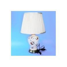 Керамическая лампа с абажуром (бежевая с бабочками)