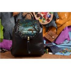 Женский кожаный черный рюкзак Лисица на дереве