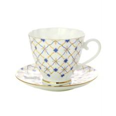 Чашка с блюдцем чайная, форма Гвоздика, рисунок Ретро