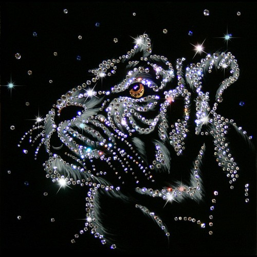 Картина с кристаллами Swarovski Снежный тигр