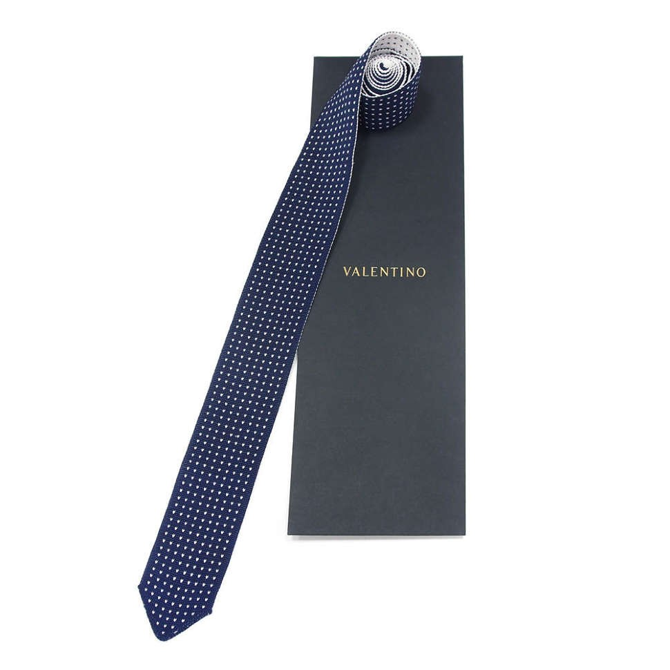 Нестандартный вязаный синий галстук Valentino