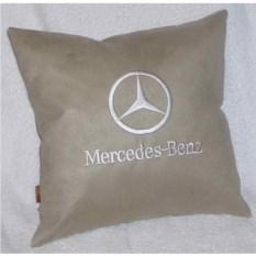 Бежевая подушка с белой вышивкой Mercedes