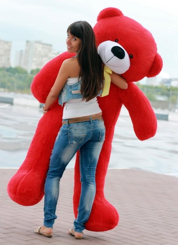 Плюшевый мишка Тема (красный), 200 см.