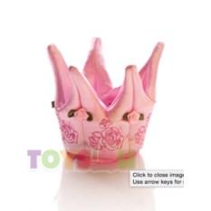 Розовая текстильная корона принцессы с розочками