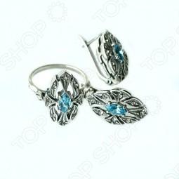 Серьги и кольцо JENAVI «Маркиза» с голубым кристаллом
