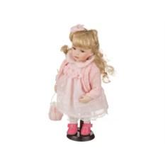 Фарфоровая кукла в нежно-розовом платье, высота 30 см