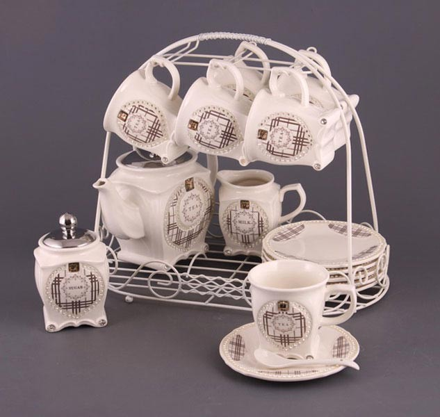 Чайный сервиз на 6 перс. 15 пр со стразами