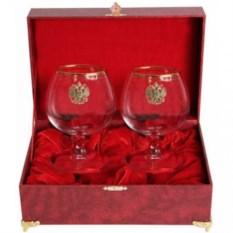 Набор из 2-х бокалов для коньяка в шкатулке Герб