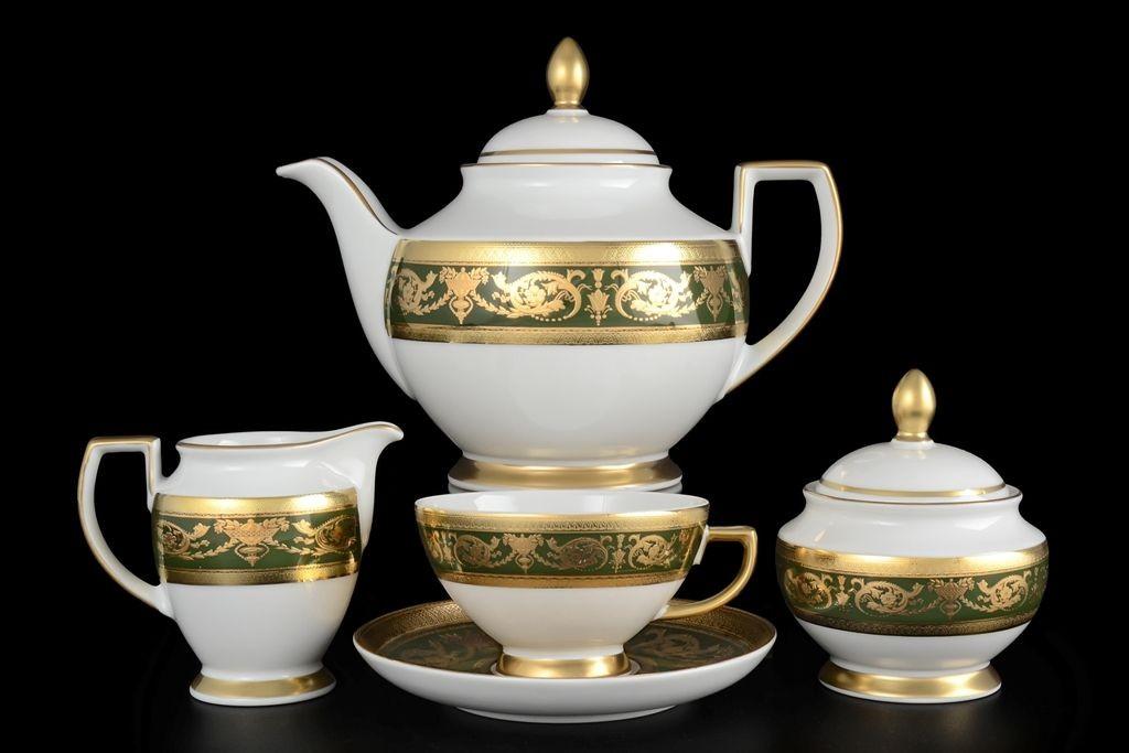 Фарфоровый чайный сервиз на 17 предметов от Falkenporzellan