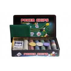 Набор для покера из 300 фишек в жестяной коробке