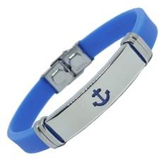 Голубой каучуковый браслет Якорь