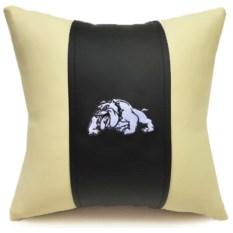 Декоративная подушка из экокожи Бульдог