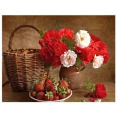 Картина-раскраска по номерам на холсте Розы и клубника