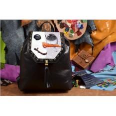 Женский черный кожаный рюкзак Птичка на снеговике