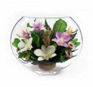 Цветы в стекле. Натуральные орхидеи. Размер:  H-19 L-20см