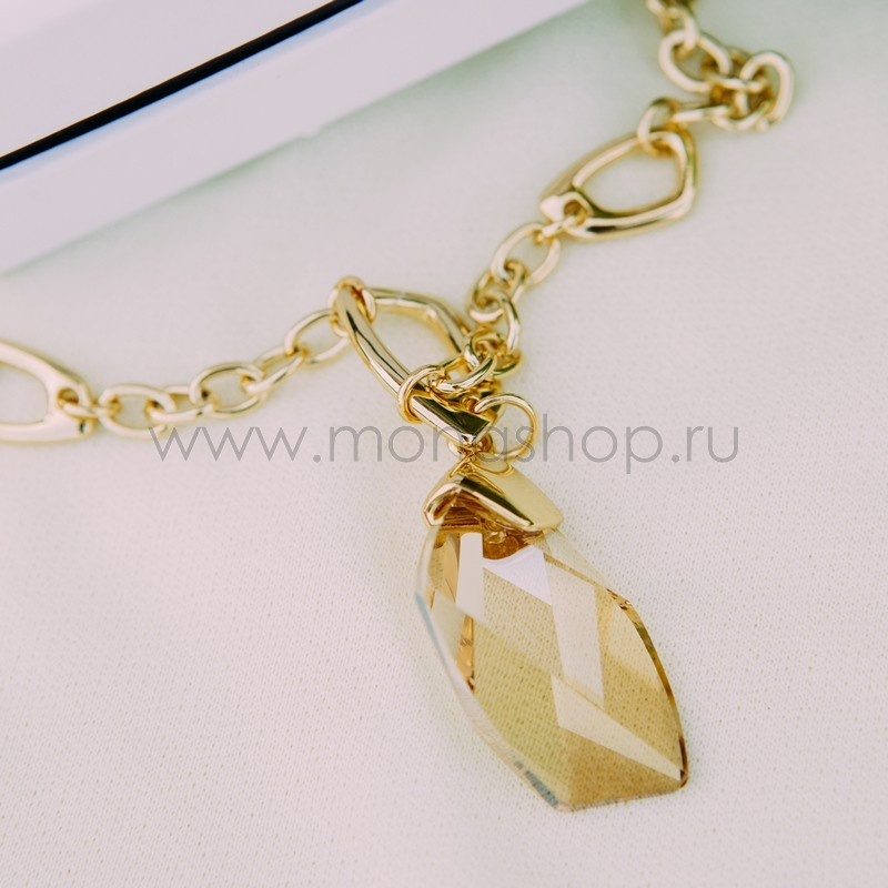 Кулон с кристаллом Сваровски цвета шампань «На счастье»