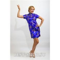 Китайское платье ципао синее