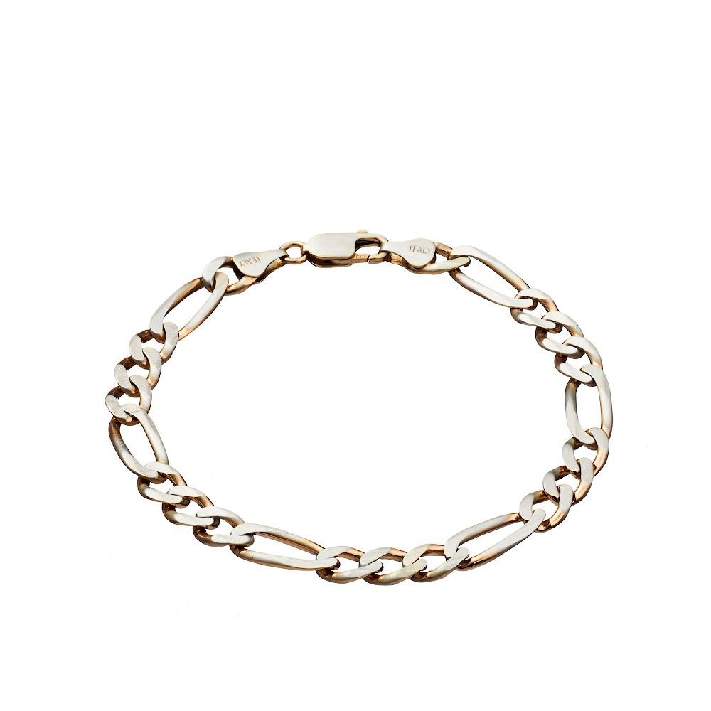 Мужской серебряный браслет «Фигаро» с частичной позолотой