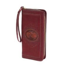 Бордовый женский кошелек из кожи Камея