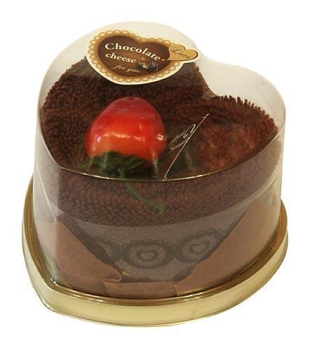 Пирожное-полотенце Сердечко шоколадное