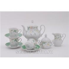 Чайный сервиз Зеленые цветы на 12 персон (27 предметов)
