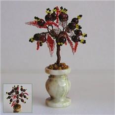 Миниатюрное дерево счастья из граната в вазочке из оникса