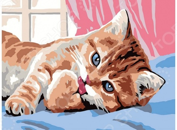 Набор для живописи по номерам Белоснежка Кот чистюля