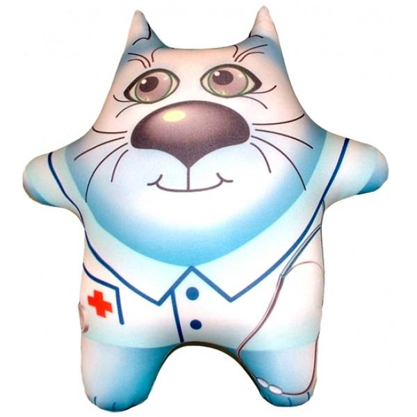 Игрушка антистресс голубой Кот Доктор  большой