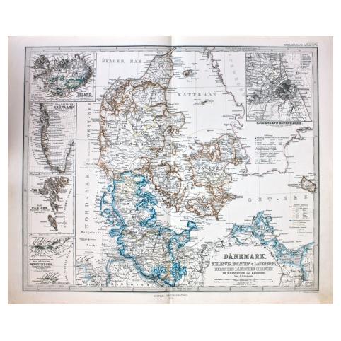 Старинная карта Дании
