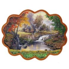 Панно из каменной крошки на репродукции Домик у ручья