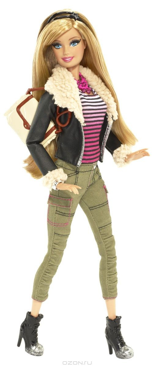 Кукла Barbie Casual в крутке с мехом