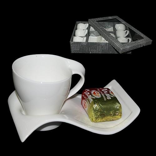 Набор для кофе Белая волна на 6 персон