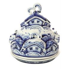Масленка керамическая с росписью Гжель Деревенька