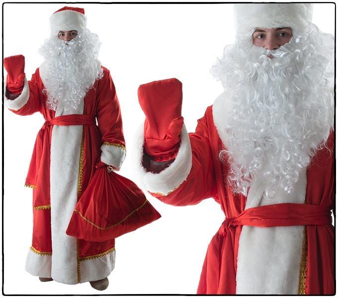 Костюм Дед Мороз, красный креп-сатин