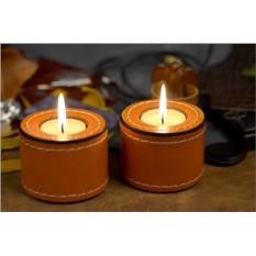 Комплект подсвечников Elole Design из кожи оранжевого цвета