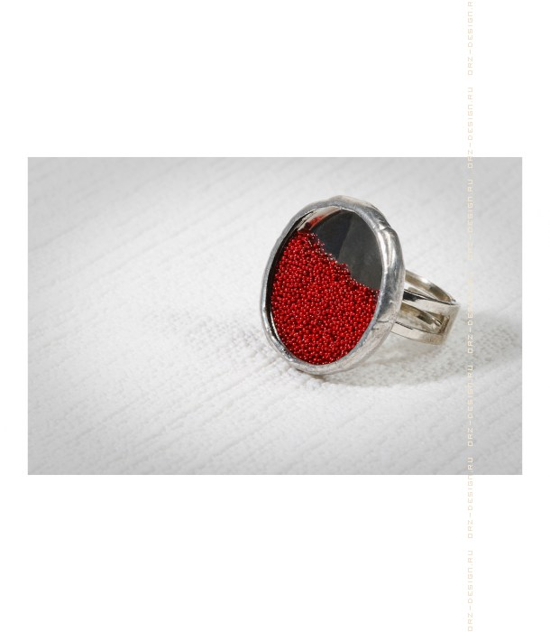 Кольцо Микробисер (красный)