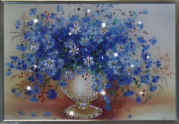 Картина с кристаллами Сваровски Васильки