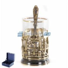 Подстаканник Трубопровод с позолотой