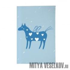 Обложка для паспорта Крылатая лошадка на голубом