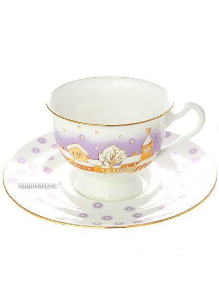 Чайная чашка с блюдцем, форма Айседора, рисунок Снегопад