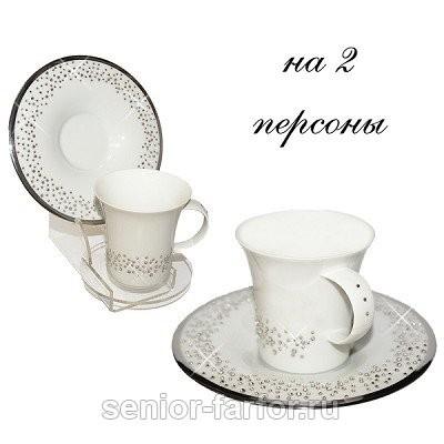 Кофейный набор на 2 персоны Свадьба, серебристый