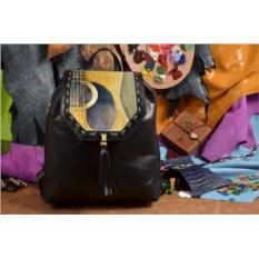 Черный кожаный рюкзак Гитара