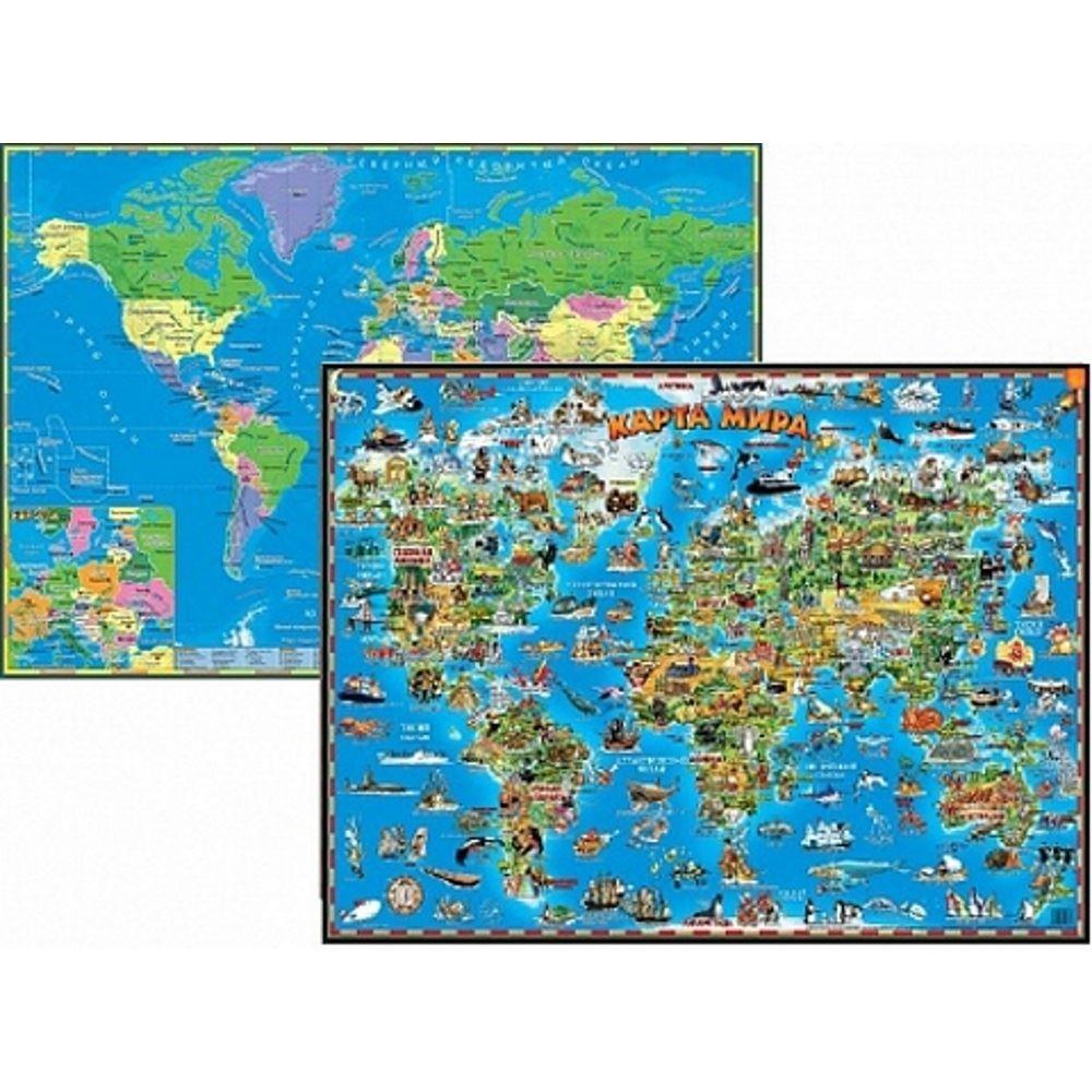 Настольная двухсторонняя карта мира для детей