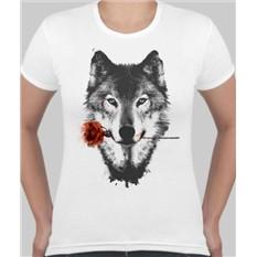 Женская футболка Волк с розой