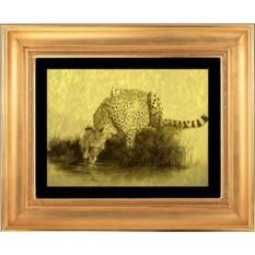 Гравюра из золота Леопард