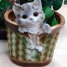 Кашпо «Котёнок в круглой корзине»