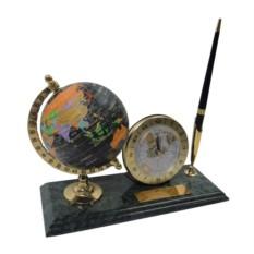 Мраморный настольный набор с глобусом, ручкой и часами