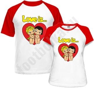 Парные футболки Love is в сердце, комбинированные